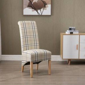 Arcade High Back Checkered Fabric Chair | Living Space
